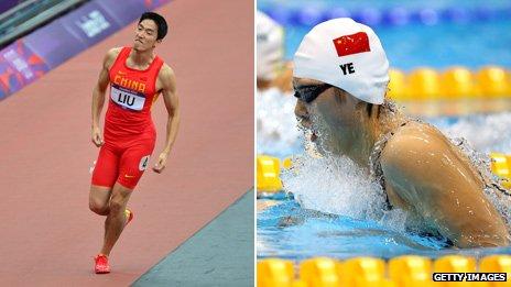 Liu Xiang and Ye Shiwen competing at the London 2012 Olympics