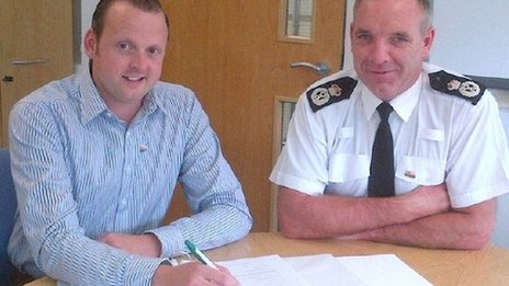 North Wales Police chief constable Mark Polin with his tutor, Arwel Owen