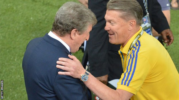 Oleg Blokhin embraces Roy Hodgson after Ukraine's Euro 2012 defeat by England