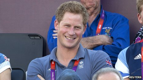 Prince Harry watching the Olympics beach volleyball
