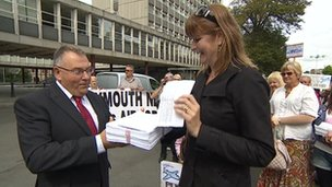 Airport petition handed to council leader Tudor Evans