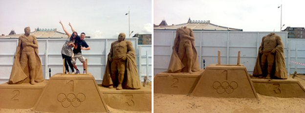 A before and after picture of the beheaded athletes in the Weston Sand Sculpture Festival