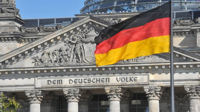 German flag outside the Bundestag