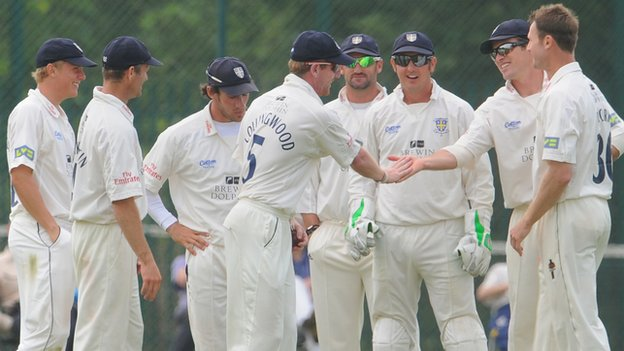 Durham celebrate a wicket