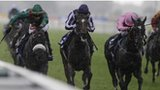 Shareta (left) wins the Yorkshire Oaks