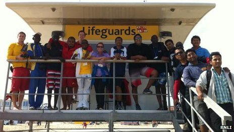 The international delegates with the RNLI lifeguards at Sandbanks
