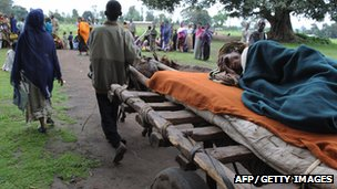 A woman suffering from malnutrition arrives at a medical centre in the town of Kuyera, Ethiopia (File)