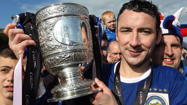 Linfield capatain Michael Gault with the Gibson Cup