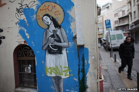 Austerity related graffiti in Athens