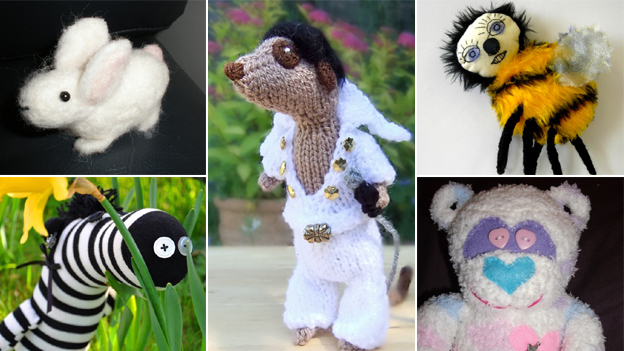 Clockwise (rabbit, Elvis Presley Meerkat by NiftyKnits, bee, teddy bear, zebra)