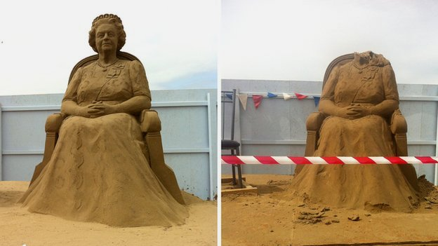 Weston Sand Sculpture, beheaded queen
