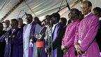 Religious leaders attend a memorial service at Lonmin's Marikana mine. 23 Aug 2012