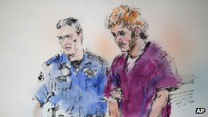 Courtroom sketch of James Holmes 9 August 2012
