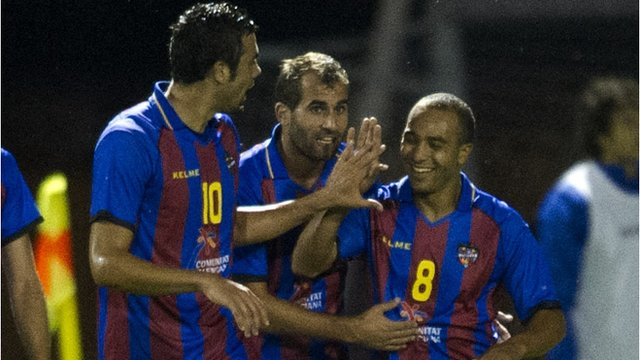 Levante celebrate their second goal against Motherwell