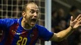Levante's Juanlu celebrates scoring the opening goal against Motherwell