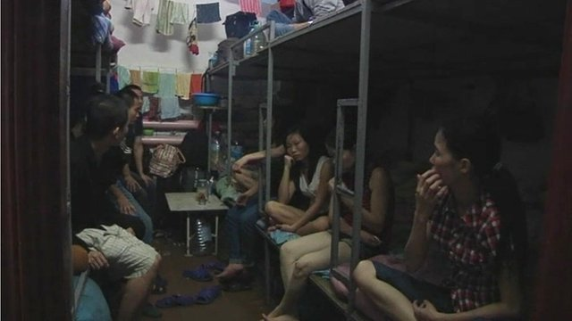 Vietnamese workers living in cramped conditions