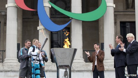Claire Lomas lights cauldron in London&#039;s Trafalgar Square to launch the Paralympic torch relay