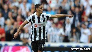 """Hatem Ben Arfa of Newcastle United celebrates scoring his team""""s second goal against Tottenham"""