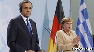 Greek Prime Minister Antonis Samaras and German Chancellor Angela Merkel