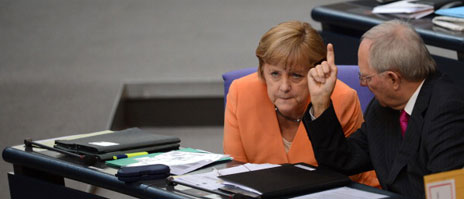 Angela Merkel and finance minister Wolfgang Schaeuble