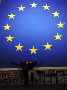 New Year celebrations next to European flag