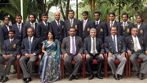 Sri Lanka Paralympic team together with the officials and the sports minister