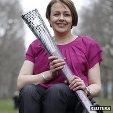 Baroness Grey-Thompson with the Paralympic torch