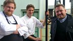Swedish chef Mikel Forselius (r) and two of his chef colleagues.