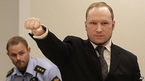Anders Behring Breivik making fascist-style salute in Oslo court, 24 Aug 12