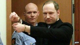 Anders Behring Breivik arriving at the court in Oslo