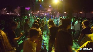 Young people dance at the open-air nightclub