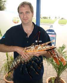 The lobster in the arms of Robbie Robinson