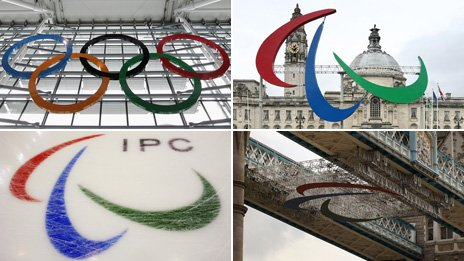 From top left, clockwise: One image of Olympics rings, three images of Paralympics Agitos