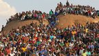 Mine workers attend a memorial service at the Lonmin Platinum Mine near Rustenburg, South Africa.