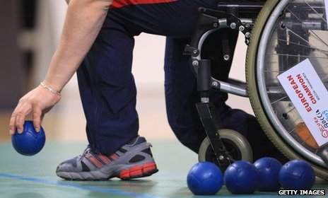 Competitor playing boccia