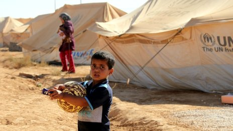 A boy at the Za'atari refugee camp in Mafraq, Jordan
