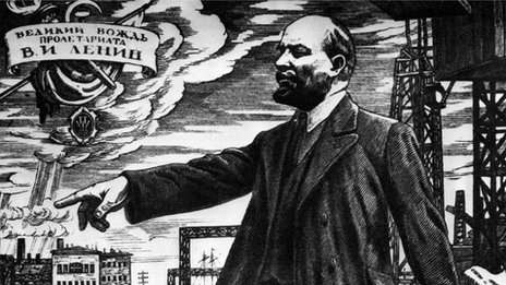 Contemporary illustration of Lenin addressing Russian workers in 1917