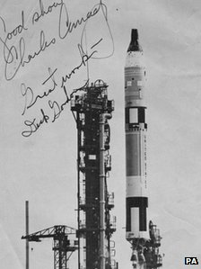 A signed photograph of the Gemini 11 lift-off in 1966