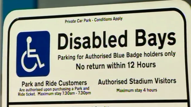 Disabled bays sign