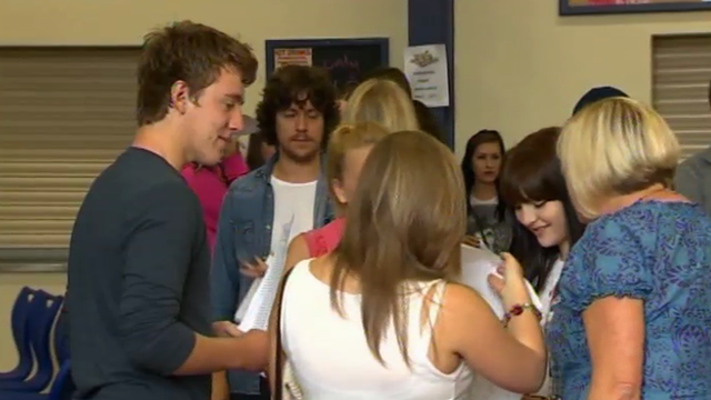 students receiving their results