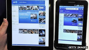 Apple and Samsung tablets side by side