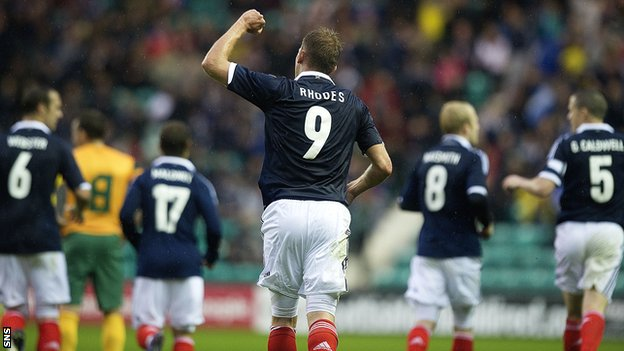 Jordan Rhodes scored for Scotland in the friendly win over Australia
