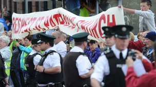 A number of protesters were separated from the march by a large police presence