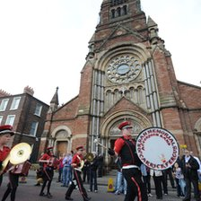 The parade passed by a Catholic Church in north Belfast