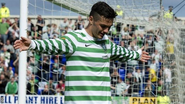 Tony Watt celebrates after scoring at Caledonian Stadium