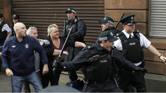 "Police officer attempt to stop fighting outside St Patrick""s Roman Catholic Church in Belfast"