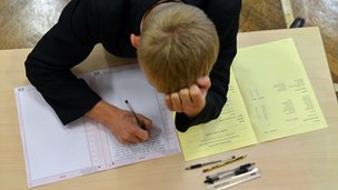 A pupil sitting a GCSE exam