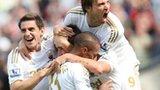 Swansea players celebrate Danny Graham's goal