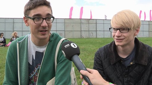 Alt-J backstage at Leeds festival