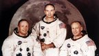 Left to right: Neil Armstrong, Michael Collins and Buzz Aldrin pose for a crew portrait in 1969